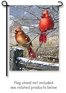"Winter Cardinal Garden Flag Double-Sided Bird Berries Snow House 12.5/""x18/"""