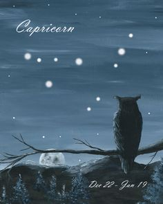 Owl watching the Moon and Stars - Capricorn by bluewolfart on Etsy