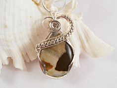 Cappuccino Jasper Wire Wrapped Pendant by elainesgems on Etsy, $20.00