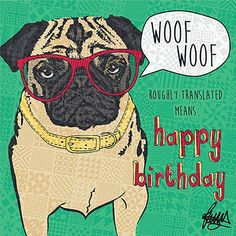 Percy Pug birthday card. Personalised cards you can even add a video to!