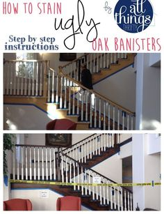to Stain an {UGLY} Oak Banister Dark How to stain an oak banister beautifully dark!How to stain an oak banister beautifully dark! Home Improvement Loans, Home Improvement Projects, Home Projects, Stair Banister, Banisters, Railings, Banister Ideas, Iron Balusters, Banister Remodel