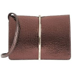 Nina Ricci Women's Arc Detail Clutch ($1,190) ❤ liked on Polyvore featuring bags, handbags, clutches, nina ricci, leather purses, brown purse, leather handbags and genuine leather handbags