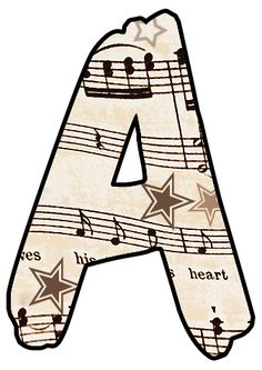 ArtbyJean - Vintage Sheet Music: Alphabet Set - Vintage Sheet Music Clipart Prints for cards, decoupage, scrapbooking.