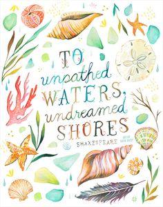 Ungeahnte Shores Kunstdruck | Hand gelettert Zitat | Ozean-Angebot | Aquarell Wandkunst | Marine Schriftzug | Katie Daisy | 8 x 10 | 11 x 14