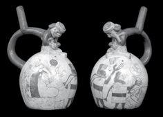 Personaje esqueletizado masturbándose. (Dos vistas). Museo de Arte, Lima. Cultura moche o mochica   Sexualidades prehispánicas