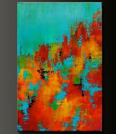 Carrusel 8-24 x 36 pintura acrílico por CharlensAbstracts en Etsy