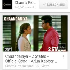"#BBXclusiveSong Checkout exclusive ""Chaandaniya - 2 States - Official Song - Arjun Kapoor, Alia Bhatt"" on YouTube - https://www.youtube.com/watch?v=WdZWiJNfUOg&feature=youtube_gdata_player"