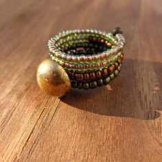 Beaded Adjustable Size 7 Wide Memory Wire Ring with by studioRenee