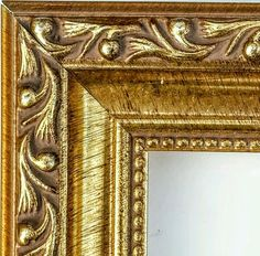 36 ft - Ornate Gold Picture Frame Moulding, Antique, Solid WOOD, Beaded Lip #DecorMoulding