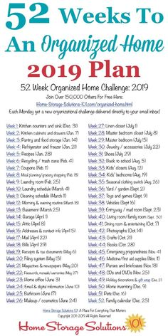 Free printable list of the 52 Weeks To An Organized Home Challenges for Join over others who are getting their homes organized one week at a time! {on Home Storage Solutions organization organization declutter organization ideas