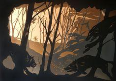"Stuart McLachlan - Layered Cut Paper Illustration, ""Riding Hood"""