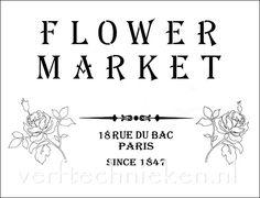 Shabby Chic sjabloon Flower Market. Verkrijgbaar in A3 formaat. Exclusief bij verftechnieken.nl