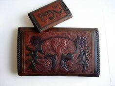 Antique Art Deco Hand Tooled Leather Pouch Wallet & Change Purse - Document Attache - Monogrammed - 1920 Set of 2 - Spectacular
