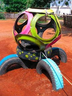 Home Playground Ideas - Bing Images Tire Playground, Outdoor Playground, Playground Ideas, Best Trampoline, Backyard Trampoline, Reuse Old Tires, Recycled Tires, Reuse Recycle, Recycled Crafts