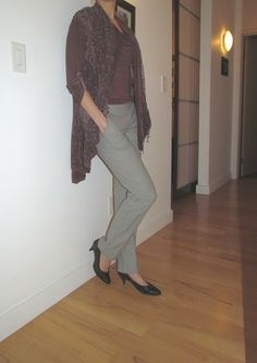 a second glance.: Light grey wool trousers, embroidered plum cardigan