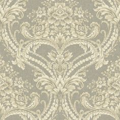 On Sale Today! Taupe BQ3894 Baroque Floral Damask Wallpaper is unpasted and has 24 inches pattern repeat. Available at InteriorPlace.com