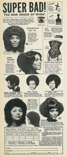 """1972 Beauty Ad, Gold Medal Perfect Fit Stretch Wigs, """"Super Bad"""""""