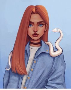 Jacqueline Seymour has an ability to talk to snakes. Cute Girl Drawing, Cartoon Girl Drawing, Girl Cartoon, Cool Art Drawings, Art Drawings Sketches, Aesthetic Drawing, Aesthetic Art, Fantasy Wesen, Redhead Characters
