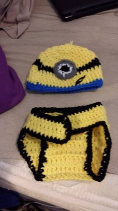 Minion Hat Diaper Cover set by KassiesCrochet on Etsy, $20.00