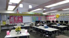 from Middle School OCD (blog): Back to School Night... Love the cheerful room set-up! (She teaches sixth and seventh grade)