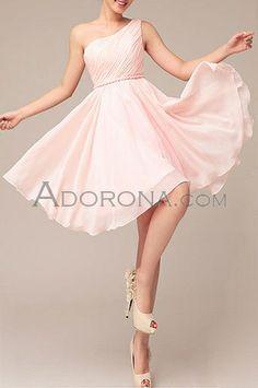 Chiffon A Line Light Pink Short One Shoulder Bridesmaid Dresses -E20645_a