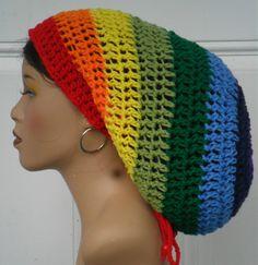 Rock the Rainbow Crochet Mega Tam Cap hat with Drawstring Dreadlocks ROYGBIV by Razonda Lee
