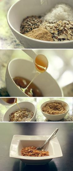Almond Granola - Oats, wheat germ, almonds, flaked coconut, sunflower seeds, honey, sugar