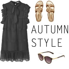 Look # 1-Pleated Panel Dress-Sandals-Sunglasses - Style Spacez