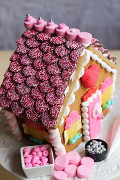 Gingerbread house for Valentine's Day, made from a kit! Great tutorials on this blog www.gingerbreadjournal.com