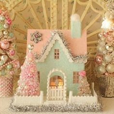 The illusive Swan by IllusiveSwan on Etsy Christmas Makes, Noel Christmas, Pink Christmas, All Things Christmas, Vintage Christmas, Christmas Ornaments, Christmas Village Houses, Christmas Villages, Putz Houses