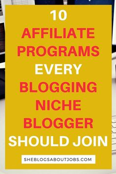 This is an awesome list of the top ten affiliate programs for bloggers in the blogging niche. Learn about the top affiliate programs for bloggers that are used by most onlinemarketers to make tons of money online