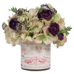 Add a touch of elegance to your credenza or side table with this lovely faux floral arrangement, showcasing hydrangea and ranunculus blooms in a glass vase. ...