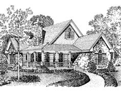 Eplans Cottage House Plan - Stone-Accented Country Home - 1065 Square Feet and 2 Bedrooms(s) from Eplans - House Plan Code HWEPL64402