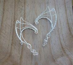 Elven Ear Cuffs. Silver Elven Ear Cuffs. Fairy Ear Cuffs. Elf Ear Cuffs. Elven Ear Wraps. Ear Cuffs. Fairy Ear Wraps.  Halloween Costume. (37.00 USD) by RingBinder