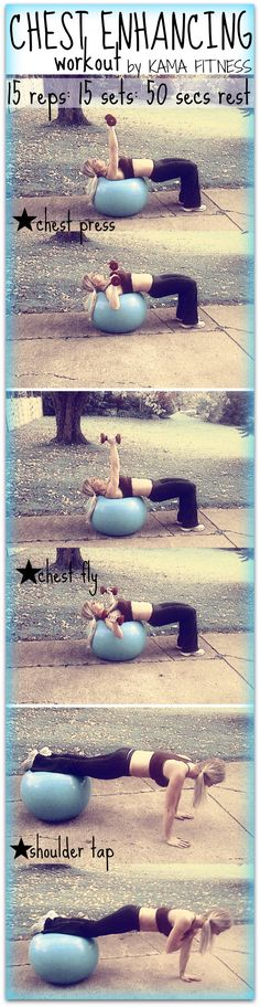 Chest-Enhancing Workout by Kama Fitness Kama Fitness, Fitness Diet, Fitness Motivation, Health Fitness, Health Exercise, Exercise Ball, Physical Exercise, Chest Workouts, At Home Workouts