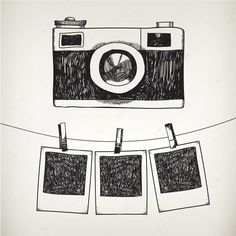 Vector hand drawn doodle illustration of retro photo frame and camera. Hanging photos in a photo studio. - Vector hand drawn doodle illustration of retro photo frame and camera hanging photos in af - Camera Sketches, Camera Drawing, Art Drawings Sketches, Doodle Drawings, Easy Drawings, Camera Art, Doodle Illustrations, Camera Painting, Tumblr Drawings