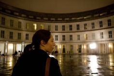 """Sofie Gråbøl as """"Sarah Lund"""" in the Nordic Noir-series Forbrydelsen. In this photo she is arriving in her-/the headquarters of the Danish police in Copenhagen"""