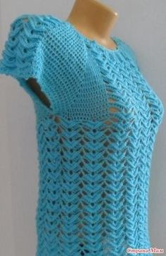 This is an attractive piece of crochet halter top dress for the summer that is just perfect to go out in the s Crochet T Shirts, Crochet Blouse, Cotton Crochet, Crochet Clothes, Crochet Lace, Free Crochet, Knit Vest Pattern, Crochet Poncho Patterns, Crochet Poncho With Sleeves