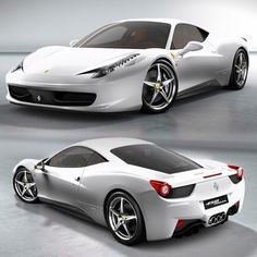 Sexy White Ferrari 458 Italia - I want one of these too! Ooh it brings out the Italian in me...
