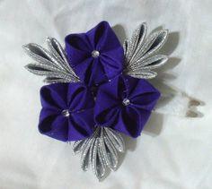 Royal purple and silver hair clip