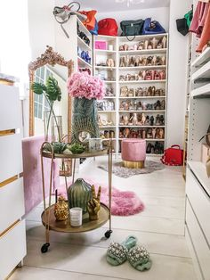 I'm an ardent believer in having a lady cave 💞💞💞 Bedroom Turned Closet, Dressing Room Closet, Dressing Room Design, Wardrobe Closet, Dressing Rooms, House Essentials, Glam Room, Vanity Decor, Closet Designs