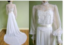 Vintage Inspired: Beautiful Vintage Edwardian Wedding Dresses Pictures, Vintage 1970s Edwardian Wedding Gown With Tulle Fabrics and Court Le...