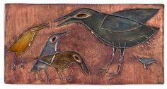 RUT BRYK, VÄGGRELIEF, ARABIA, FINLAND. Stengods, reliefdekor av fåglar. Delvis glaserad i grönt, blått och gult. Signerd BRYK samt ristat och skrivet BRYK på baksidan. 44 x 22,5 cm.8265900 bukobject