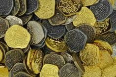 Pirate gold and silver doubloon replicas Pirates Gold, Pirate Coins, Pieces Of Eight, Pirate Treasure Chest, Pirate Party, Antique Gold, Antiques, Silver, Toys