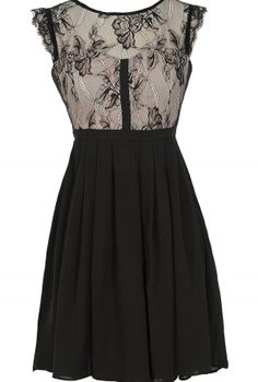 Easily Enchanted Black and Beige Eyelash Lace Dress  www.lilyboutique.com