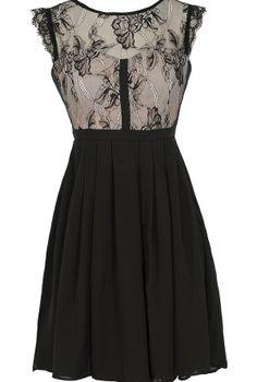 Easily Enchanted Black and Beige Eyelash Lace Dress  www.lilyboutique.com
