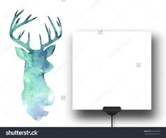 Close-up of one square paper sheet with clip next to watercolour deer silhouette background