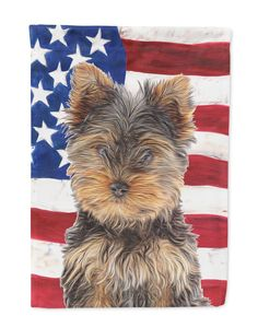 USA American Flag with Yorkie Puppy / Yorkshire Terrier Flag Garden Size KJ1160GF