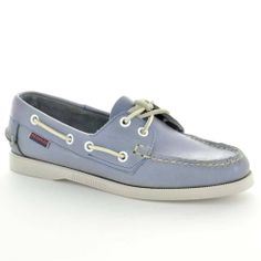 Sebago Womens Boat Shoes B413103 Docksides Metallic Sky Leather