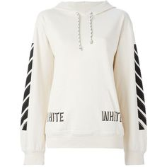 Off-White Stripe Sleeve Hood Sweater ($429) ❤ liked on Polyvore featuring tops, white top and off white tops